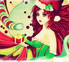 Grunge candy background with Santa girl by AnnArtshock