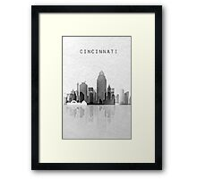 Cincinnati Black and White City Skyline Framed Print