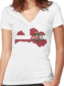 Latvia Flag Map with Coat of Arms Women's Fitted V-Neck T-Shirt