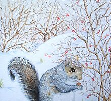 Cute grey squirrel snow scene wildlife art  by pollywolly