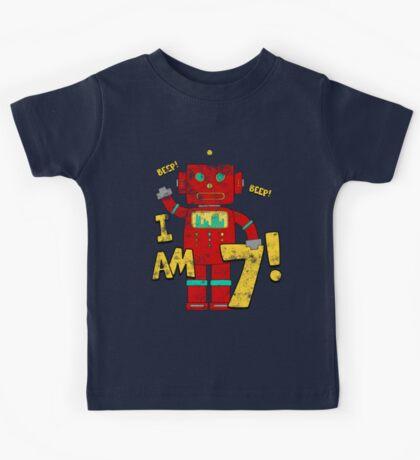 Retro Robot 7th Birthday Party Kids Tee