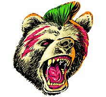 PUNK BEAR WILL MURDER YOU IN THE FACE Photographic Print