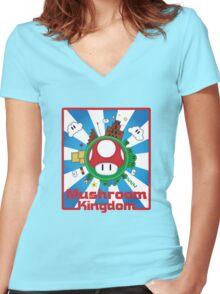 Mushroom Kingdom Women's Fitted V-Neck T-Shirt