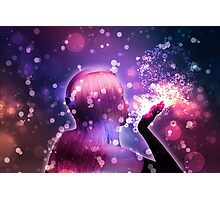 Holiday background with girl blowing snow Photographic Print
