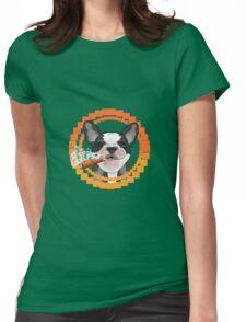 Cute dog head with a Cuban cigar Womens Fitted T-Shirt