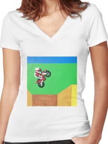 Excitebike (Paint 'N' Beads) Women's Fitted V-Neck T-Shirt