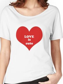 Red White Heart Shape Love Quote Abstract Pattern Women's Relaxed Fit T-Shirt