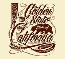 Golden State California - Typography Art by Arek619