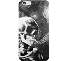 Skull with burning cigarette on a Starry Night BW iPhone Case/Skin