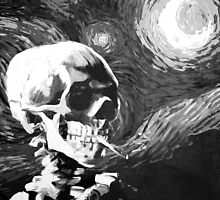 Skull with burning cigarette on a Starry Night BW by filippobassano