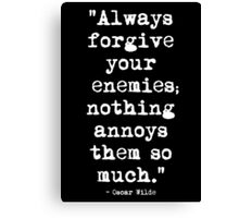 Oscar Wilde Enemies White Canvas Print