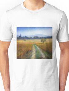 vineyards with village Unisex T-Shirt