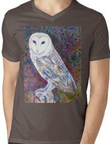 Watercolor Barn Owl Mens V-Neck T-Shirt
