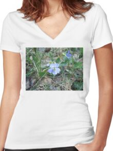 Purple Flower Women's Fitted V-Neck T-Shirt