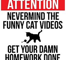 Hilarious 'Nevermind the Funny Cat Videos and Get Your Damn Homework Done' Warning Sign by Albany Retro