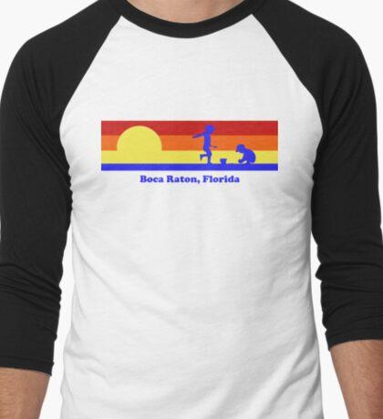 Boca Raton Forida Sunset Beach Vacation Souvenir Men's Baseball ¾ T-Shirt