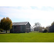 BARN WITH US FLAG Photographic Print