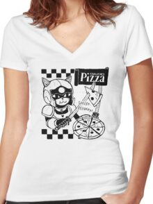Cerviches Pizza Women's Fitted V-Neck T-Shirt