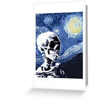 Skull with burning cigarette on a Starry Night Greeting Card