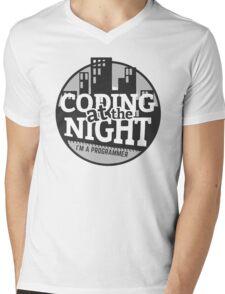 Coding At The Night Mens V-Neck T-Shirt