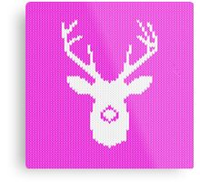 Deer Silhouette in Christmas Ugly Sweater Knitting Metal Print