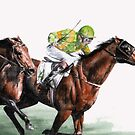 Racehorse Study in Watercolor by Nina Smart