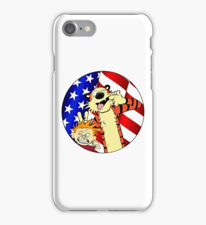 Calvin and hobbes america iPhone Case/Skin