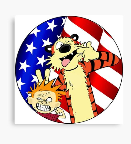 Calvin and hobbes america Canvas Print