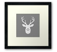 Deer Silhouette in Christmas Ugly Sweater Knitting Framed Print