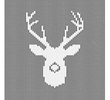 Deer Silhouette in Christmas Ugly Sweater Knitting Photographic Print