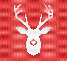 Deer Silhouette in Christmas Ugly Sweater Knitting by Garaga