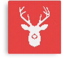 Deer Silhouette in Christmas Ugly Sweater Knitting Canvas Print