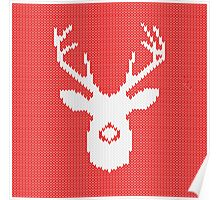 Deer Silhouette in Christmas Ugly Sweater Knitting Poster