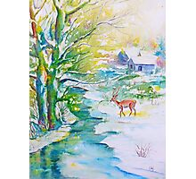 Watercolor Snow Scene Painting, snow, stream, cottage and deer Photographic Print