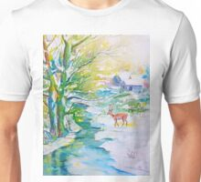 Watercolor Snow Scene Painting, snow, stream, cottage and deer Unisex T-Shirt