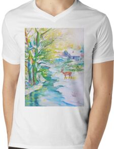 Watercolor Snow Scene Painting, snow, stream, cottage and deer Mens V-Neck T-Shirt