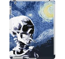 Skull with burning cigarette on a Starry Night iPad Case/Skin