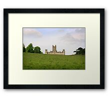 Green rolling hills towards Downton abbey Framed Print