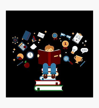 Concept of Education with Reading Books Photographic Print