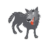 Gray wolf. Cartoon, toothy wolf grey  Photographic Print