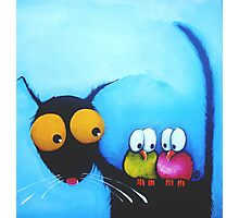 Stressie Cat and the Whimsical Birds Photographic Print