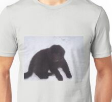 newfoundland puppy laying in snow Unisex T-Shirt