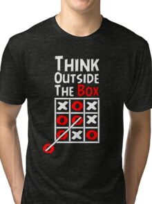 Think Outside the Box - X O games Fun by Aariv Tri-blend T-Shirt