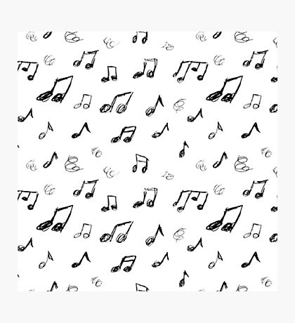 Music Notes - Repeating Pattern Doodle Photographic Print