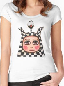 The Harlequin girl & crow Women's Fitted Scoop T-Shirt