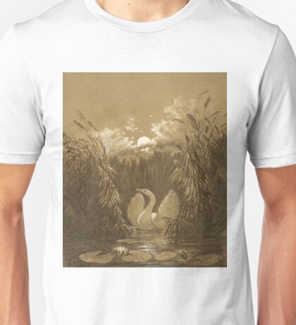 A Swan Among the Reeds, by Moonlight - Carl Gustav Carus - 1852 Unisex T-Shirt