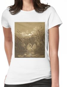 A Swan Among the Reeds, by Moonlight - Carl Gustav Carus - 1852 Womens Fitted T-Shirt