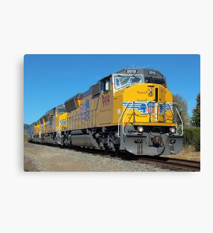 Diesel Locomotive UP 9919, SD59MX, Union Pacific Railroad, Napa, California  Canvas Print