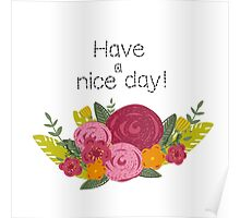 Hand drawn flowers greeting Poster