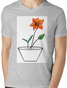 Minimalist Flower in a Pot Mens V-Neck T-Shirt